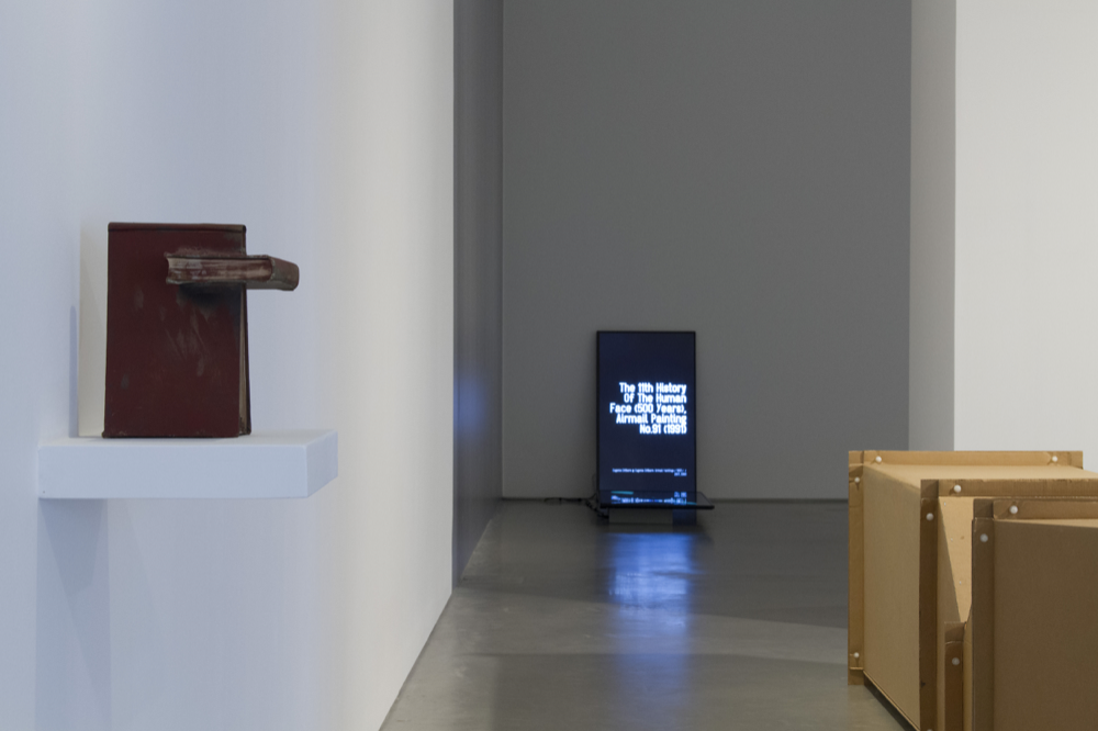 Time After Time exhibition, John Hansard Gallery 2018. Installation view from left to right: John Latham, N-U Niddrie 1976-1995; Walter van Rijn, Unconsumable Global Luxury Dispersion 2018; Charlotte Posenenske, Vierkantrohre Serie DW, 1967-2018.