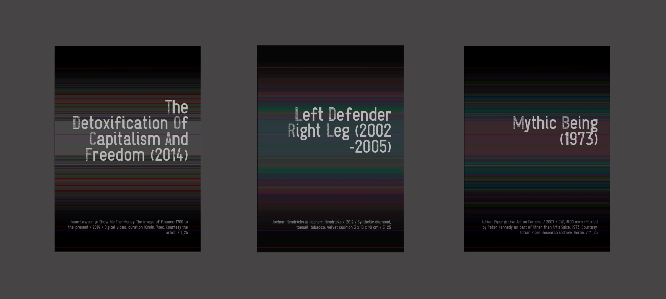 """""""The Detoxification, Left Defender, Mythic Being"""" Work 1, 3 and 7 of a series of 25; Digital print, face-mounted on plexiglass, each 30.5 x 40.5 x 2.5 cm."""