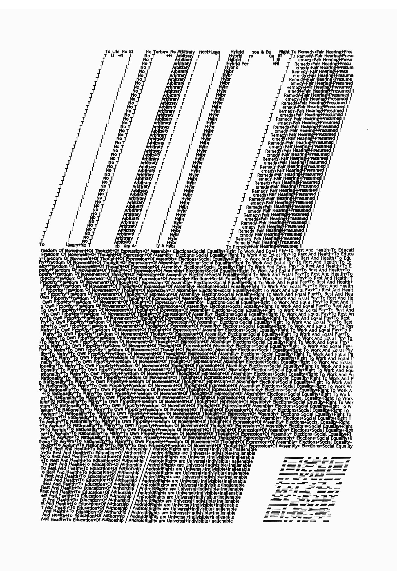 Walter van Rijn (2020) BeingAndroid_text111; Print from original ink on paper; 300x420mm; hybrid human robotic drawing.