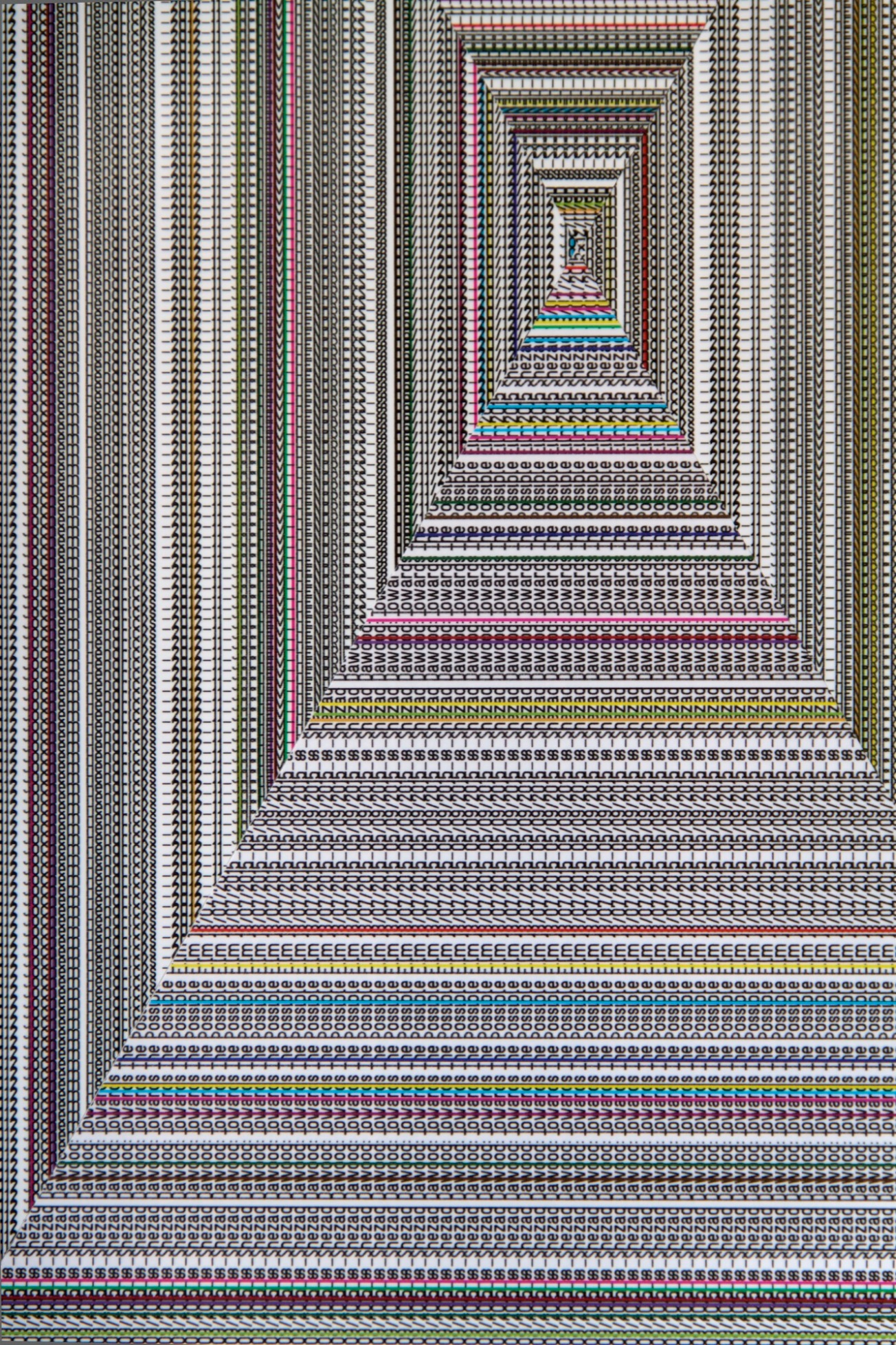 Walter van Rijn, Labyrinth_WD3, 2019, Collage with ink, digital print, vinyl, aluminium panel 800 x 600 x20 mm, Font Being Human. Text with 2012_11_JOCHEM_HENDRICKS_Wallpaper_2